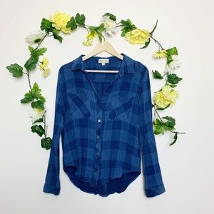 Anthro. Cloth & Stone Blue Plaid Top Size M